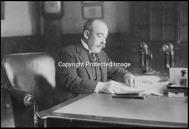 BNPS.co.uk (01202 558833)<br /> Pic: GoogleImages/BNPS<br /> <br /> Sir Richard Woodman Burbridge. <br /> <br /> A silver cigar case in the shape of department store Harrods that was paid for by the owner of rivals Selfridge's following a bizarre bet is tipped to sell for 100,000 pounds.<br /> <br /> The intricate case was commissioned as a result of the wager between the then Harrods' managing director Sir Richard Woodman Burbidge and Harry Gordon Selfridge in 1917.<br /> <br /> The pair each bet their store would be more successful than the other by the time six years had passed from the end of the First World War.<br /> <br /> The case has been in the family of Sir Richard, who won the bet, ever since and is now being sold at Christie's in London.