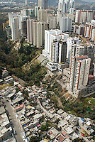 The division of rich and poor in Mexico City is clearly illustrated in this photograph shot in the wealthy Interlomas area of Mexico City. Aerial shots of Mexico City
