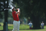 Robert Karlsson hits his second shot on the 9th hole at the PGA FedEx St. Jude Classic at TPC Southwind in Memphis, Tenn. on Sunday, June 12, 2011. Karlsson birdied the hole.