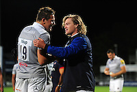 Charlie Ewels and Nick Auterac of Bath Rugby after the match. Pre-season friendly match, between Leinster Rugby and Bath Rugby on August 26, 2016 at Donnybrook Stadium in Dublin, Republic of Ireland. Photo by: Patrick Khachfe / Onside Images