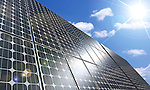 Conceptual stock photo-illustration of a Large solar panel under blue sky brightly lit by the sun Alternative energy sources Solar power plant Environmental technologies and sustainable power sources concept Can be used as a background image
