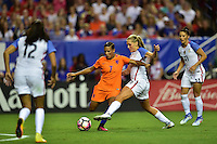 Atlanta, GA - Sunday Sept. 18, 2016: Shanice van de Sanden, Allie Long during a international friendly match between United States (USA) and Netherlands (NED) at Georgia Dome.