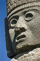 Head of Atlantean warrior figure at ruins of Tula, Toltec capital, Mexico.