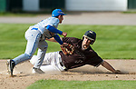 WINSTED,  CT-051217JS08- Thomaston's Devin Acker  (11) is tagged out by Gilbert's Dylan Thomas (3) while trying to steal during their game Friday at Walker Field in Winsted. <br />   Jim Shannon Republican-American