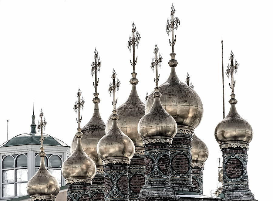 Detail of cupolas in The Upper Saviour's Cathedral and Terem Churches in the Kremlin in Moscow
