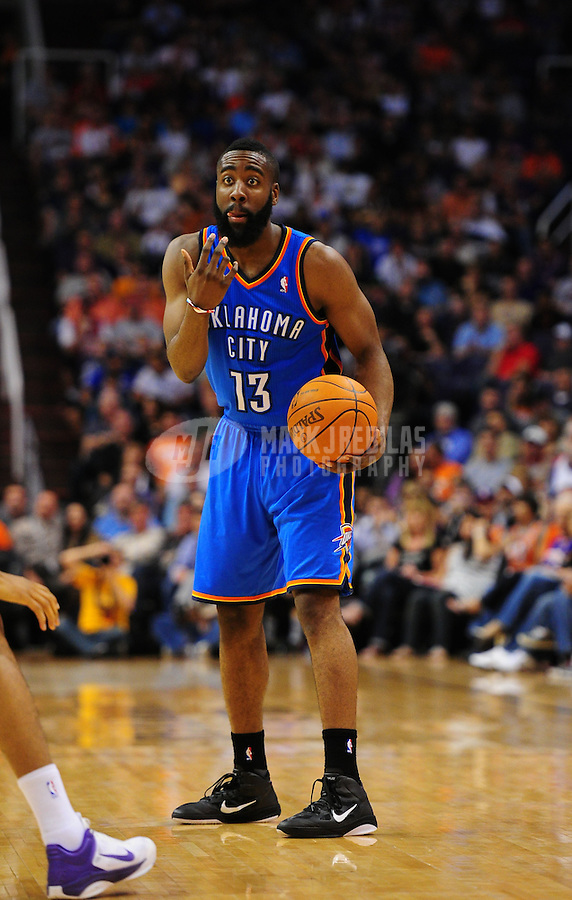 Mar. 30, 2011; Phoenix, AZ, USA; Oklahoma City Thunder guard (13) James Harden against the Phoenix Suns at the US Airways Center. Mandatory Credit: Mark J. Rebilas-