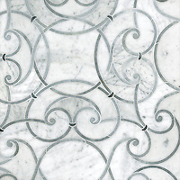 Abigail, a handmade mosaic shown in honed Carrara, honed Allure and honed Greystoke. Designed by Sara Baldwin Designs for New Ravenna.<br />