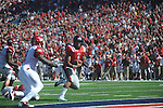 Ole Miss quarterback Randall Mackey (1) scores a touchdown vs. Arkansas at Vaught-Hemingway Stadium in Oxford, Miss. on Saturday, October 22, 2011. .