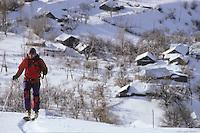 Mihktar exploring slopes above Vardahovit, Armenia, February 2014