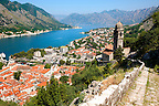 Kotor bay from the chuch of our Laday of Health ( Crkva Gospe od zdravja - 15th century)  above Kotor town, Montenegro