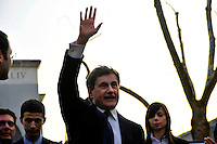 Roma 24 Marzo 2010. Il Sindaco di Roma Gianni Alemanno  partecipa alla chiusura della campagna elettorale del P.D.L per le elezioni regionali,in piazza Santa Maria Consolatrice al quartiere Casal Bertone..Rome March 24, 2010. Rome Mayor Gianni Alemanno, participates in the closing of PDL's election campaign for regional elections, in Piazza Santa Maria Consolatrice  district Casal Bertone..