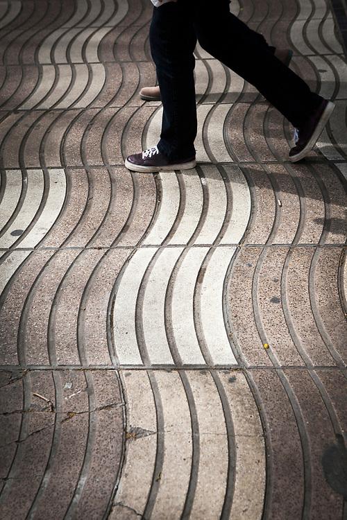 Walking on the Rambla, Barcelona, Catalonia, Spain.