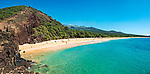 A panoramic view of Big Beach, located in Makena State Park on the southwest coast of the island of Maui. Also known as Makena Beach or Oneloa Beach, Big Beach is about a mile long, very wide, and considered by many to be the best beach on Maui.