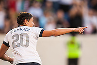 United States (USA) forward Abby Wambach (20) celebrates scoring her first goal of the mach during an international friendly between the women's national teams of the United States and the Korea Republic at Red Bull Arena in Harrison, NJ, on June 20, 2013.