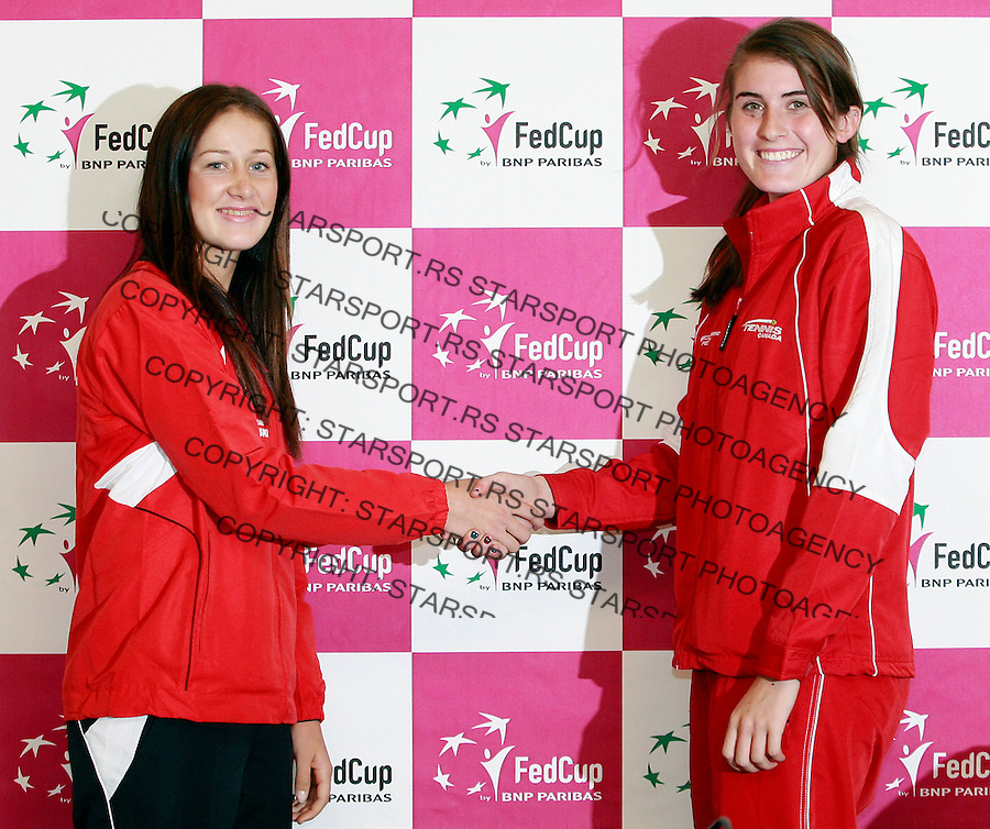 Bojana Jovanovski and Rebecca MArino, Fed Cup Serbia vs Canada, World group II, first round, Draw, Novi Sad, Serbia, Friday, February 04, 2011. (credit & photo: Pedja Milosavljevic / +381641260959 / thepedja@gmail.com / STARSPORT)