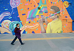 Yarely Arellano walks home through the Mexican city of Juarez after crossing the border from the United States, where she studies at the Lydia Paterson Institute, a United Methodist sponsored high school in El Paso, Texas. Arrelano, 20, makes the journey every school day.
