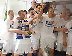 St Johnstone v Morton....02.05.09.Kevin Rutkiewicz sprays champagne in the dressing room with team mates Steven Anderson, Derek Holmes, Paul Sheerin, Euan McLean, Martin Hardie, Kevin Moon and Liam Craif.Picture by Graeme Hart..Copyright Perthshire Picture Agency.Tel: 01738 623350  Mobile: 07990 594431