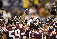 Virginia Tech players huddle together before Sugar Bowl game against Michigan at Mercedes-Benz SuperDome in New Orleans, Louisiana on January 3rd, 2012.  Michigan defeated Virginia Tech, 23-20 in first overtime.
