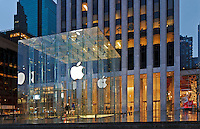 Apple Store, 767 Fifth Avenue GM Building, designed by Dan Shannon of Moed de Armas & Shannon, New York City, New York, rain, morning