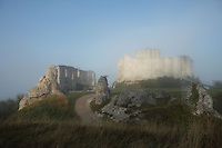 LES ANDELEYS, FRANCE - OCTOBER 10: View of the remains of the outer wall with the embossed ramparts of the Chateau Gaillard in a fog, on October 10, 2008 in Les Andelys, Normandy, France. The chateau was built by Richard the Lionheart in 1196, came under French control in 1204 following a siege in 1203. It was later destroyed by Henry IV in 1603 and classified as Monuments Historiques in 1852. (Photo by Manuel Cohen)