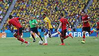 Brazil's Neymar Takes on the Mexican Midfield