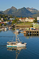 Commercial trolling vessel Moonlight passes through Sitka Channel, Sitka, Alaska.