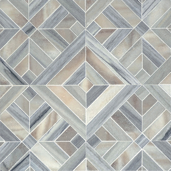 Laberinto Grand, a handmade mosaic shown in honed Horizon Dark and Cashmere. Designed by Paul Schatz for New Ravenna.<br /> <br /> For pricing samples and design help, click here: http://www.newravenna.com/showrooms/