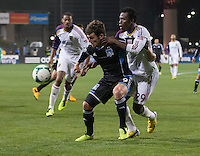 March 3rd, 2013: Kenny Mansally defending Mike Fucito during a game at Buck Shaw Stadium, Santa Clara, Ca.  Salt Lake Real defeated San Jose Earthquakes