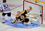 24 January 2009: Boston Bruins goaltender Tim Thomas stops Chicago Blackhawks defenseman Brian Campbell in the first round of the Elimination Shootout of the NHL SuperSkills Competition, during the All-Star Weekend at the Bell Centre in Montreal, Quebec, Canada. ***** Editorial Sales Only ***** Mandatory Photo Credit: Ed Wolfstein Photo