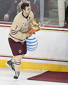 Isaac MacLeod (BC - 7) - The visiting University of Notre Dame Fighting Irish defeated the Boston College Eagles 2-1 in overtime on Saturday, March 1, 2014, at Kelley Rink in Conte Forum in Chestnut Hill, Massachusetts.