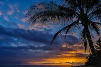 Sunset along the Waimea coastline of Kaua'i.