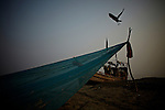 A fishing boat on the eastern shore of Bhola.?This area in the south of Bangladesh has been called ground zero of climate-change due to heavy river and ocean erosion. The lowlying area is also hugely affected by cyclones and rising sea-levels...By the Mouth of Ganges, at the Bay of Bengal is the Island of Bhola. This home of about two million people is considered to be ground zero of climate change. Half the island has disappeared in the past 40 years, and according to scientists the pace is not going to slow down. People pack up and leave as the water get closer. Some to a nearby embankment, while those with enough money move further inland, but for most life move on until the inevitable. It's always about survival for the people in one of the worlds poorest countries...Photo by: Eivind H. Natvig/MOMENT