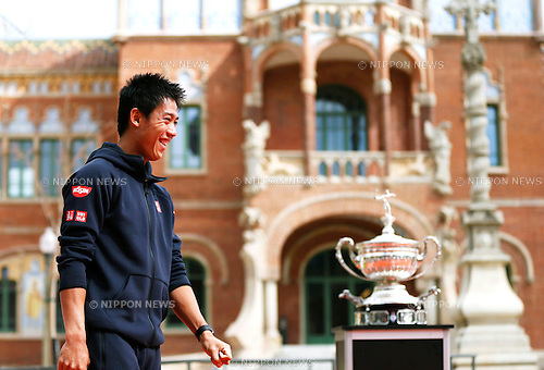 Kei Nishikori (JPN), APRIL 20, 2015 - Tennis : The ATP 500 World Tour Barcelona Open Banco Sabadell tennis tournament presentation event at St. Pau Hospital in Barcelona, Spain, (Photo by D.Nakashima/AFLO)