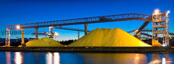 Stockpiled Sulfur, Vancouver, British Columbia, Canada.