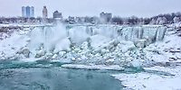 Looking at the American Falls during the Winter in Niagara.
