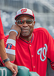 22 July 2016: Washington Nationals Manager Dusty Baker watches batting practice from the dugout prior to the start of play against the San Diego Padres at Nationals Park in Washington, DC. The Padres defeated the Nationals 5-3 to take the first game of their 3-game, weekend series. Mandatory Credit: Ed Wolfstein Photo *** RAW (NEF) Image File Available ***