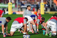 Dave Attwood of Bath Rugby speaks to his team-mates during the pre-match warm-up. Aviva Premiership match, between Exeter Chiefs and Bath Rugby on October 30, 2016 at Sandy Park in Exeter, England. Photo by: Patrick Khachfe / Onside Images