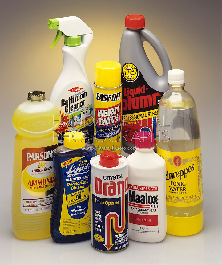 BASES IN COMMON HOUSEHOLD PRODUCTS<br /> A Base Is The Reactive Complement To An Acid<br /> A base is a chemical compound that either donates H+ ions or absorbs hydrogen ions when dissolved in water. It is considered a proton accepter. Bases are bitter tasting &amp; slippery feeling, properties commonly found in soap &amp; household cleaners.