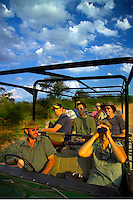 KLASERIE PRIVATE GAME RESERVE, SOUTH AFRICA, DECEMBER 2004. Some distance is covered in the landrover. Wildlife guide Gary Freeman takes people on walking safaris in the bush. Photo by Frits Meyst/Adventure4ever.com