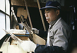 A workman selects wooden horse patterns at the Hachinohe Toy Wooden Horse Factory in Hachinohe, Japan. The Hachinohe horse or Yawata Uma is made in a small factory, where, for eight hours a day, six days a week, 11 workers cuts, chisel, sand, paint and shellac wooded horses of all sizes ranging from just over an inch to nearly a foot high. (Jim Bryant Photo).....