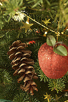 Christmas Ornaments on Spruce Tree