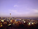 BI32,819-01...WASHINGTON - A 1965 photograph of a sunset over downtown Seattle.