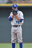Pitcher Walker Sheller (21) of the Lexington Legends delivers a pitch in a game against the Columbia Fireflies on Sunday, April 23, 2017, at Spirit Communications Park in Columbia, South Carolina. Lexington won, 4-2. (Tom Priddy/Four Seam Images)