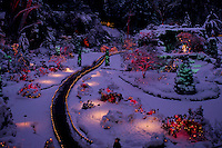 "Butchart Gardens, Brentwood Bay near Victoria, Vancouver Island, BC, British Columbia, Canada - Christmas Lights and Decorations in the ""Sunken Garden"""