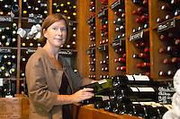 britt in a wine shop