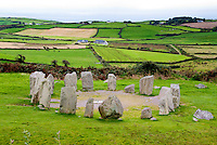 Drombeg Stone Circle, County Cork, Ireland, Irish meadows and fields, farmhouse, animals, ocean sea, hedgerows, mysrterious Druid ruins