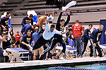 24 MAR 2012:  Members of the University of California men's team celebrate by diving in the pool after winning the Division I Men's Swimming and Diving Championship held at the Weyerhaeuser King County Aquatic Center in Seattle, WA.  Rod Mar/ NCAA Photos