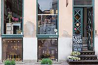 Cafe window of Kompa 9 cafeteria and coffee bar in Straedet in Copenhagen, Denmark
