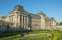 The front facade and formal gardens of the neo-classical Palais de la Nation (National Palace) in Upper Town, Brussels, Belgium