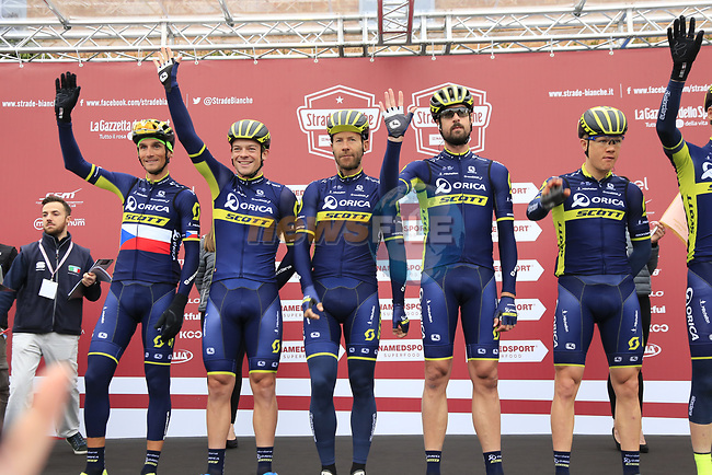 Orica-Scott team at sign on before the start of the 2017 Strade Bianche running 175km from Siena to Siena, Tuscany, Italy 4th March 2017.<br /> Picture: Eoin Clarke | Newsfile<br /> <br /> <br /> All photos usage must carry mandatory copyright credit (&copy; Newsfile | Eoin Clarke)